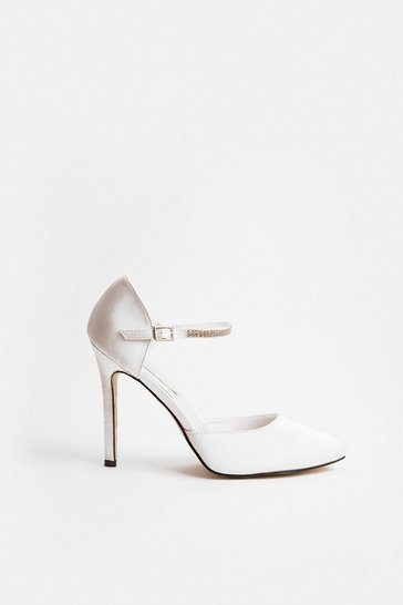 Ivory Diamante Strap Court Shoe