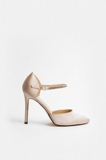 Nude Diamante Strap Court Shoe