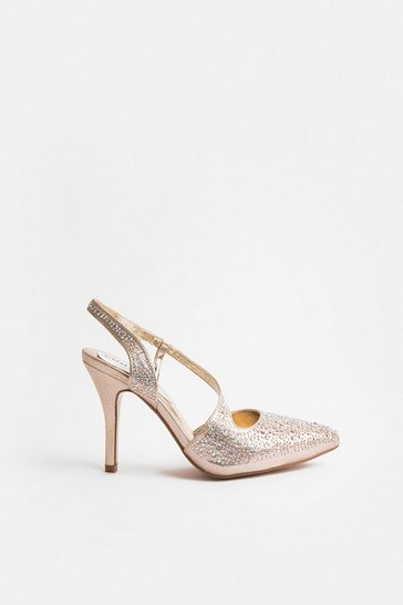 Gold Ankle Strap Pointed Court