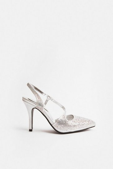 Silver Ankle Strap Pointed Court