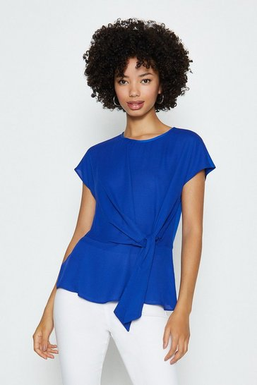Blue Short Sleeve Woven Tie Front Top