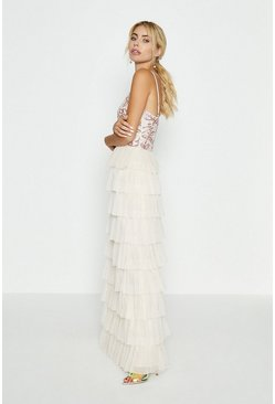 Nude Floral Sequin Bodice Tiered Hem Maxi Dress