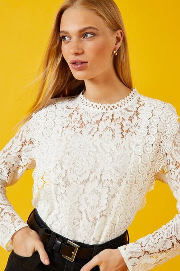White Long Sleeve High Neck Lace Top
