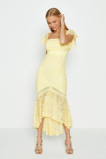 Yellow Lace Bardot Midi Dress