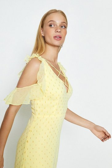 Yellow Cold Shoulder Cross Stap Neck Midi Dress