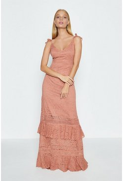 Rose Floral Lace Frill Maxi Dress