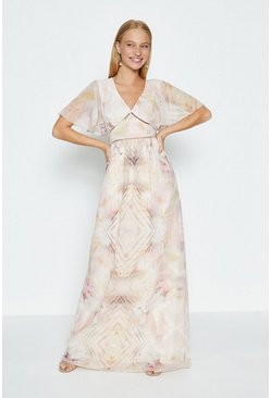 Multi Kaleidoscope Print Maxi Dress