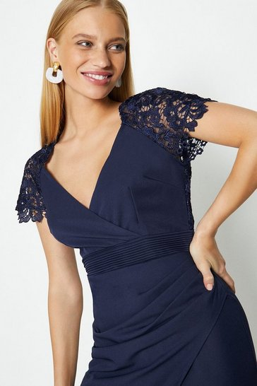 Navy Lace Sleeve Open Back Wrap Maxi Dress