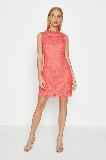 Coral Sleeve Lace Mini Shift Dress