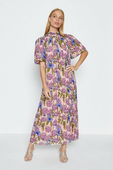 Blue High Neck Floral Midi Dress