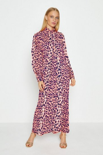 Pink Long Sleeve Animal Print Midi Dress