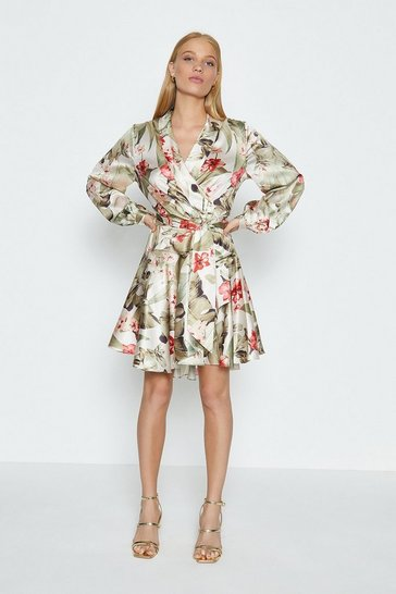 Long Sleeve Floral Fit And Flare Short Dress