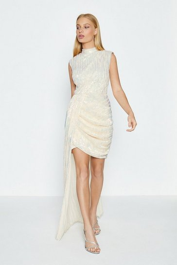 Gold Sleeveless Drape Detail Short Dress