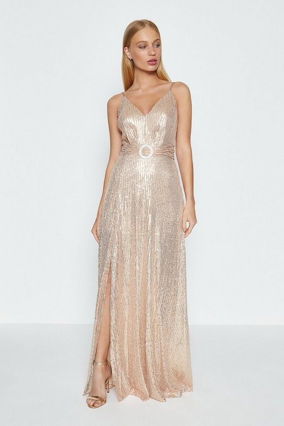 Rose gold Sleeveless Side Split Sequin Maxi Dress