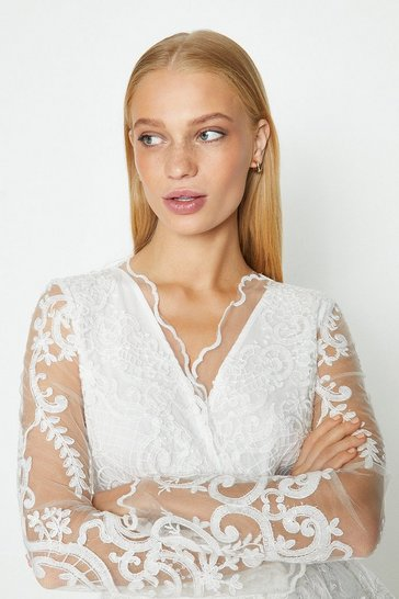 Ivory Long Sleeve Lace Jacket