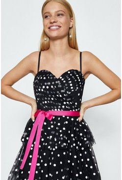 Mono Strappy Bustier Spot Tiered Maxi Dress