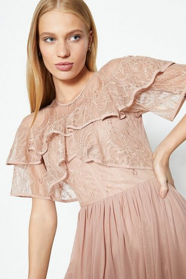 Blush Short Sleeve Lace Mesh Maxi Dress