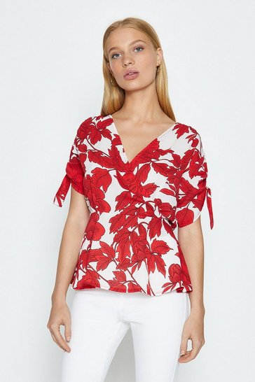 Ivory Floral Print Wrap Peplum Top