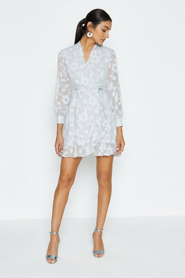 Grey Floral Burnout Wrap Dress