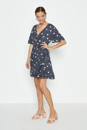 Mono Large Spot Wrap Mini Dress