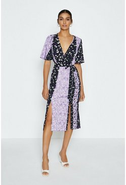 Black Mix And Match Floral Wrap Dress