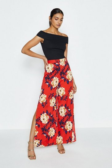 Red Oriental Bloom Wide Leg Trouser