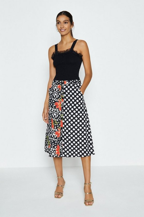 Black Mix And Match Printed Skirt