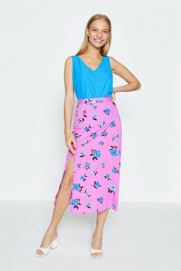 Pink Printed Split Side Midi Skirt