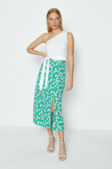Teal Printed Split Side Midi Skirt