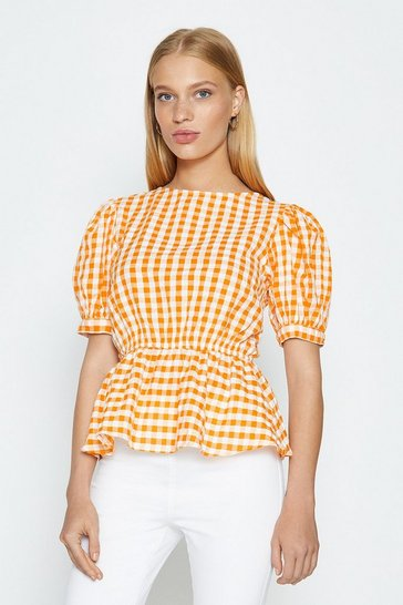 Yellow Gingham Puff Sleeve Top