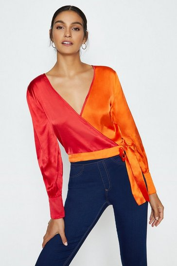 Orange Colour Block Wrap Top