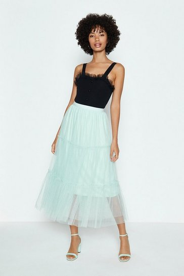 Mint 3 Tier Mesh Skirt