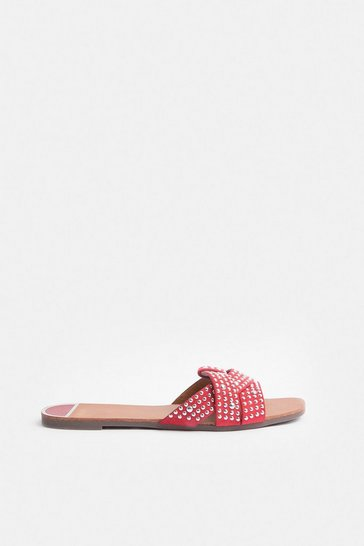 Red Diamante Stud Sandal