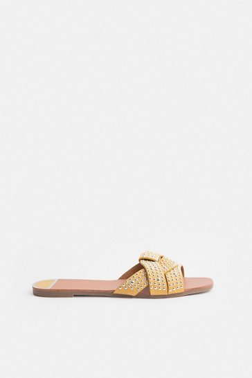 Yellow Diamante Stud Sandal