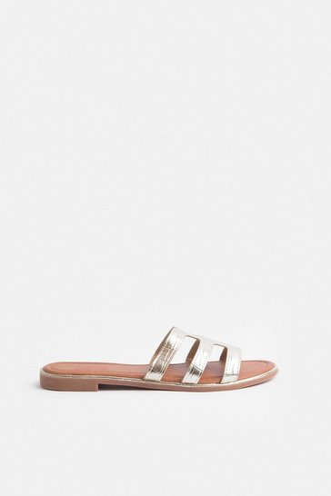 Gold Triple Strap Sandal