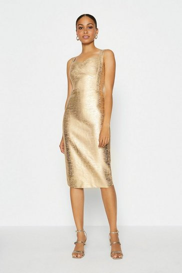 Gold Metallic Sweetheart Neck Midi Dress