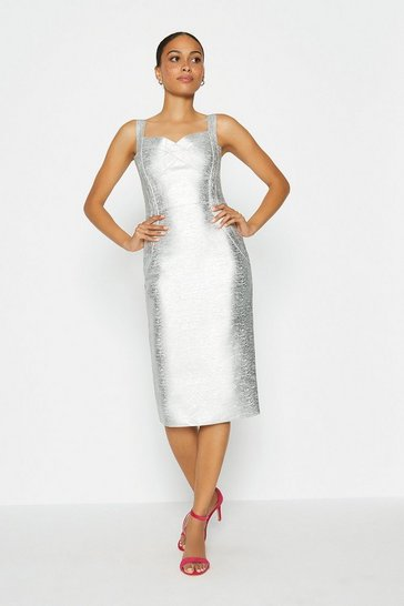 Silver Metallic Sweetheart Neck Midi Dress