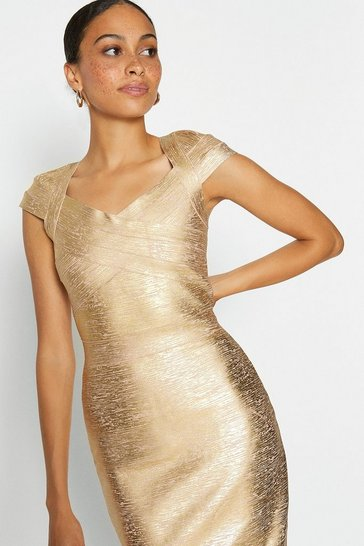 Gold Metallic Cap Sleeve Midi Dress