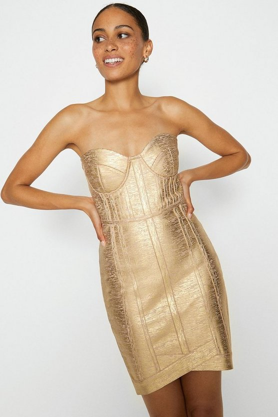 Gold Metallic Bandeau Knitted Dress