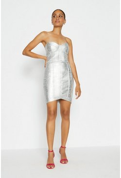 Silver Metallic Bandeau Knitted Dress