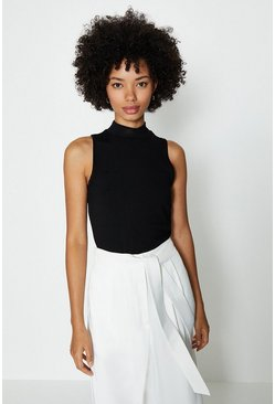 Black Sleeveless High Neck Top