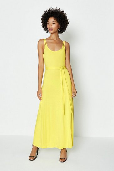 Yellow Two Cami Strap Midi Dress