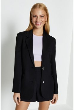 Black Linen Look Girlfriend Blazer