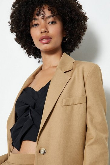 Camel Linen Look Girlfriend Blazer