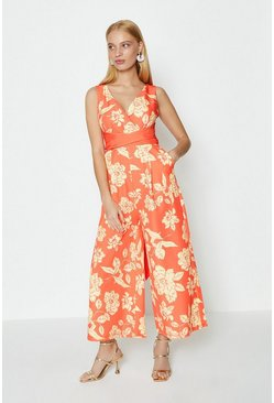 Orange Printed Jumpsuit