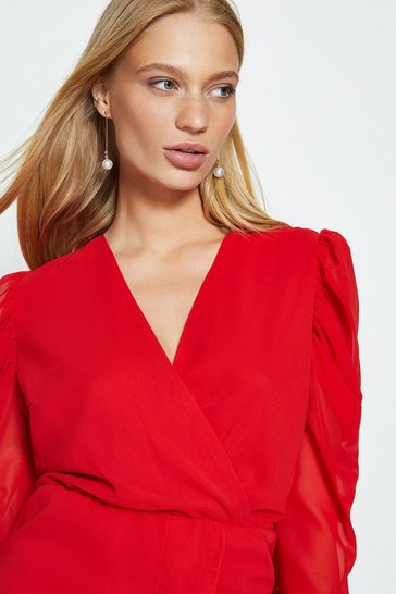Red Ruffle Front Chiffon Mini