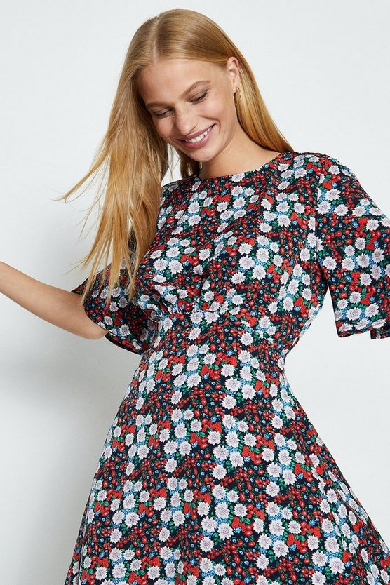Red Ditsy Floral Cape Sleeve Dress