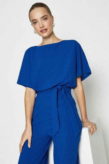 Cobalt Cape Top Wide Leg Jumpsuit