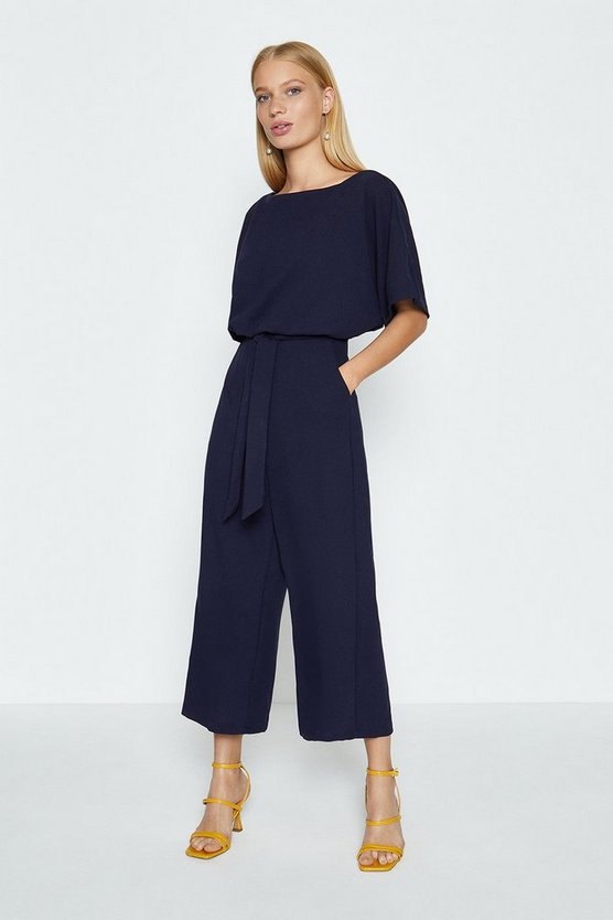 Navy Cape Top Wide Leg Jumpsuit