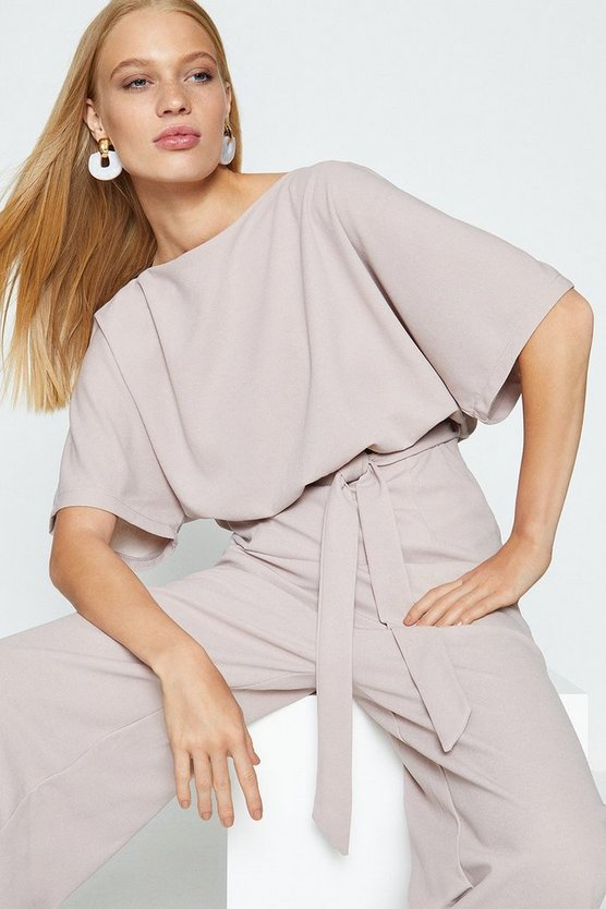 Nude Cape Top Wide Leg Jumpsuit